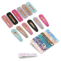 Korean Shiny Acetic Acide Hair Clips Solid Acrylic Geometric Waterdrop Hairpins