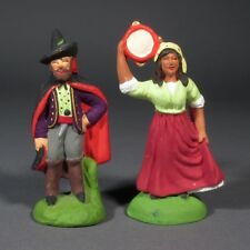 "Vintage French Terracotta Santons From Provence, ""Gypsy Couple"", Gipsy, Signed"