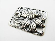 Sterling Silver Ajoure Flower Square Brooch Pin 23.39g. #6244