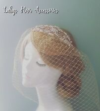 Rose Gold Crystal & Pearl 1920s Gold Fascinator Hat Champange Bird Cage Veil