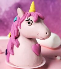 X 3 Unicorn Birthday cake decorations.5x4 cms.Polymer Clay. 5cm Plastic prong.