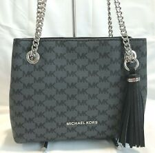MICHAEL KORS JET SET CHAIN MEDIUM MESSENGER BAG  BLACK/BLACK   $228 NWT