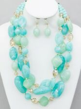 Three Layers Multi Mint Lucite Bead And Faceted Glass Bead Necklace Earring