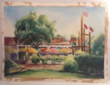 """Bazaar Del Mundo"" 1976 Old Town San Diego Watercolor SIGNED LISTED 18""x24"""