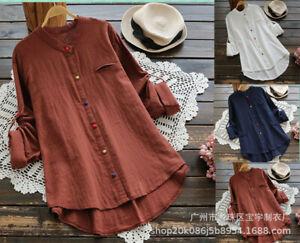 Women Autumn cotton linen fashion all-match stand-up collar long-sleeved shirt