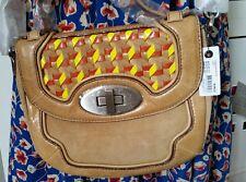 Mimco Camel Mughal Mini Satchel Leather Cross Body Bag Clutch