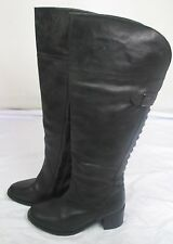 """Black leather 2"""" heel wide fit knee high boots Catwalk Collection size 6"""