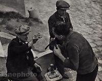 1930/72 Vintage 11x14 SHAVING Paris Men Razor Street Photo Art By ANDRE KERTESZ