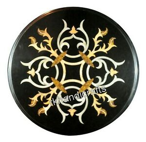 12 Inches Round Marble Coffee Table Top Antique Work Bed Side Table Home Assents