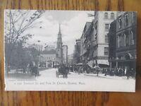 Vintage Postcard Tremont Street Park St Church Boston Mass Horse Buggy City