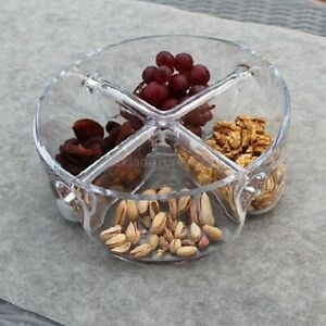 Clear Glass 4 section Snack and Dip Bowl Container 23 cm serving container