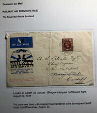 1934 London England First Flight Railway Air Cover Ffc To Cardiff Ras