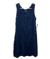 R&M RICHARDS Women's Ruffled Midi Cocktail Dress Made In USA black Size 12 #2250