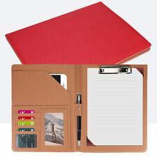 Business Leather Padfolio Portfolio Folder Organizer Resume Notebook Red Unisex
