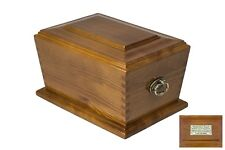Human Casket Urn for Ashes Wooden brass handle plaque Memorial Cremation Funeral