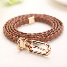 Women Fashion Waist Belt Narrow Stretch Dress Belt Thin Buckle Leather Waistband