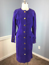 Vintage Pia Rucci Genuine Purple Suede Leather Midi Dress Gold Button S M Career