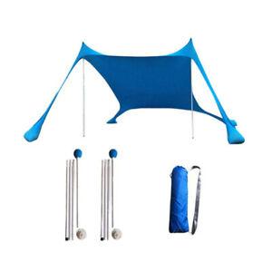 New Portable Lightweight Family Beach Sunshade Tent Camping 4Pegs Canopy Outdoor
