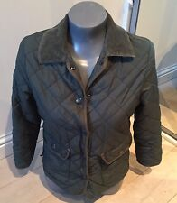 Authentic Jack Wills Ladies Size 8 Green Quilted Thin Jacket EXC COND
