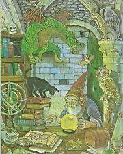 3 Fantasy Scene Sticker sheets - Wizard Dragon Owl Gargoyle Cat Bat Rat Skull*