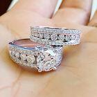 Luxury 2pcs/set Cubic Zirconia Jewelry 925 Silver Rings Wedding Rings Size 6-10