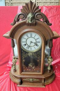 Early 1890 New Haven 'OCCIDENTAL' Mirrorside & Cherub Parlor Clock