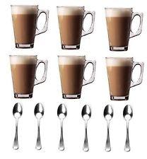 Set di 6 Bicchieri da Latte Macchiato tazze cioccolata calda cappuccino tazza caffè tè cucchiai Tazze