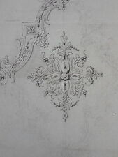 DESSIN ORIGINAL ESQUISE MOTIF DECORATION MEUBLE BOIS XIXéme siécle