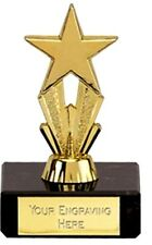 gold colour micro star trophy on marble base award free engraving dance trophies