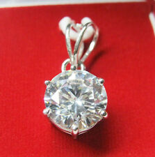 5.89 ct white Round cut Solitaire Sterling silve Pendant for chain Graded $ 851