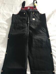 CARHARTT Men's R38 Duck Quilt-Lined Zip-to-Waist Biberalls Coveralls 44x30 BLACK