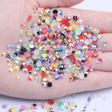 3d Nail Art de Diamantes de Imitación de Resina Piedras Redondas de aurora boreal Flatback no Hotfix Gemas BEADS