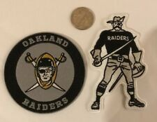 "(2) Oakland Raiders Vintage Iron on Embroidered  Patches  4"" x 2"" Awesome!"