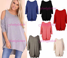 New Ladies Women's Cut Out Cold Shoulder Batwing Long Top Tunic Dress Plus Size
