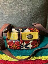 Fossil Key Per Red Multi-Color Floral Coated Canvas Shoulder Bag Crossbody