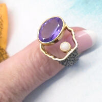 Amethyst Opal schwarz gold lila Ring Ø 18,0 18,25 mm 925 Sterling Silber neu