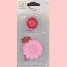 HEIDI GRACE JOLLY & BRIGHT 12 GLITTERED FLOWERS and 12 BRADS 2 sizes PINK RED