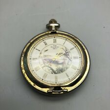 Vintage The Franklin Mint Antique Pocket Watch Bass Fishing Japan Movement
