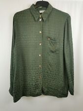 Gerry Weber ladies shirt dark green long sleeve animal print size EU42/ UK 14 03