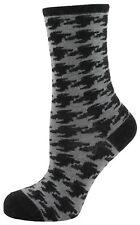 Zest Dogtooth Check Angora Mix Socks Size 4-7 Black & Grey