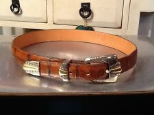 ONYX by Brighton 19006 Brown Belt Huge Silver Tone Buckle Embossed Size 30 S