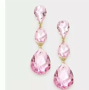 """3"""" Long Light Pink Gold Drop Crystal Rhinestone Pageant Dangle Pierced Earrings"""
