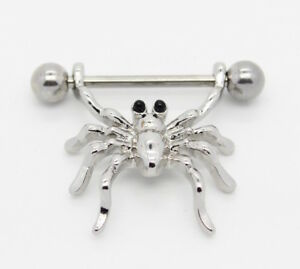 Surgical Steel Spider Nipple Bar Ring Shield