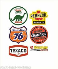 555/1 SET DI ADESIVI TEXACO Sticker GASOLINE Pennzoil CHAMPION Oldtimer Retro v8