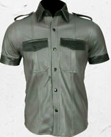 Men's Real Leather Shirt Bluff Gay Style Grey Half Sleeves 100% Lambskin Leather