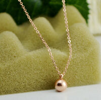 New 18K Rose Gold Filled Solid Women 6MM Round Ball Beads pendant Charm Necklace