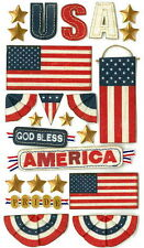 Jolee's Le Grande Scrapbook Craft Sticker - GOD BLESS AMERICA Patriotic