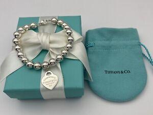 "Tiffany & Co Sterling Silver Small Heart 8mm Bead Ball Bracelet 7.25"" RRP $620"
