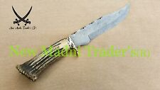 """12"""" DAMASCUS ORIGINAL NATURAL RED STAG WITH CROWN HANDLE HANDMADE HUNTING KNIFE"""