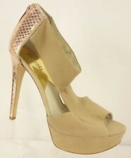 MICHAEL KORS Tan Suede Rose Gold Metallic Animal Print Leather Platform Heel 11M